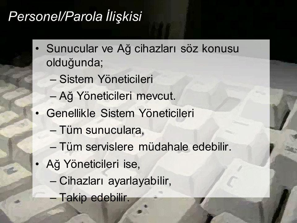 Personel/Parola İlişkisi Sunucular ve Ağ cihazları söz konusu olduğunda; –Sistem Yöneticileri –Ağ Yöneticileri mevcut.