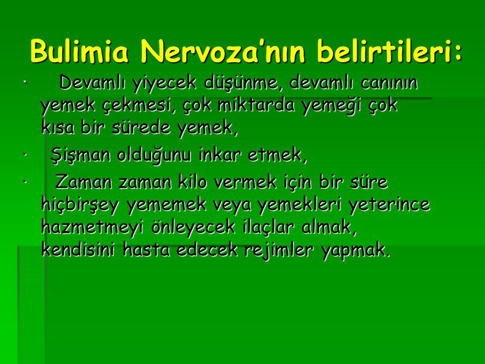 Bulimia Nervoza'nın belirtileri: · Devamlı yiyecek düşünme, devamlı canının yemek çekmesi, çok miktarda yemeği çok kısa bir sürede yemek, · Devamlı yi