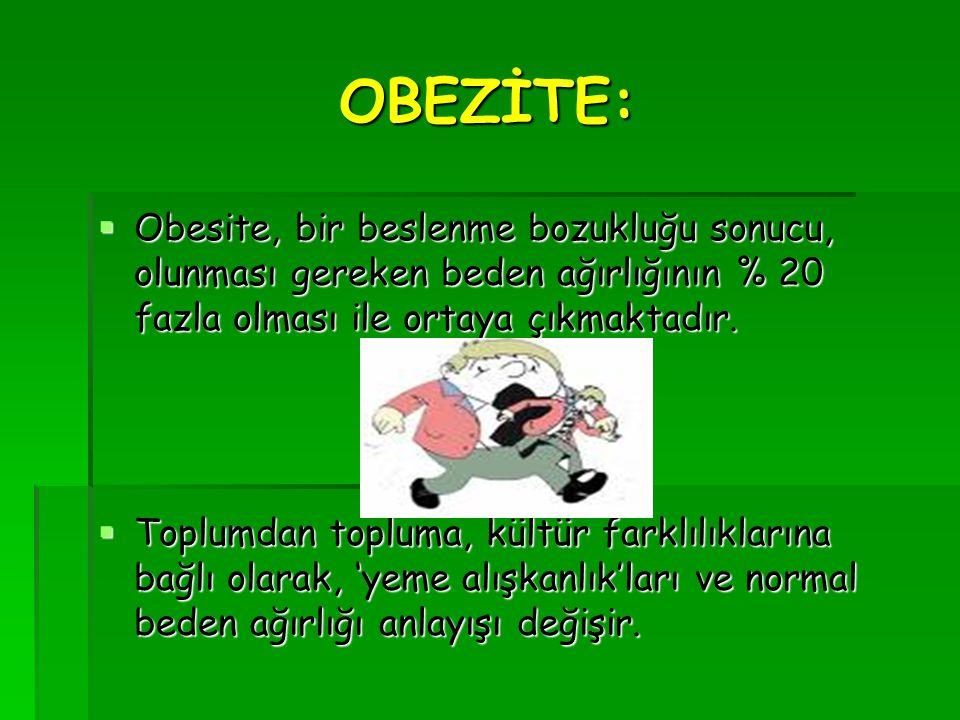 OBEZİTE: OOOObesite, bir beslenme bozukluğu sonucu, olunması gereken beden ağırlığının % 20 fazla olması ile ortaya çıkmaktadır. TTTToplumdan