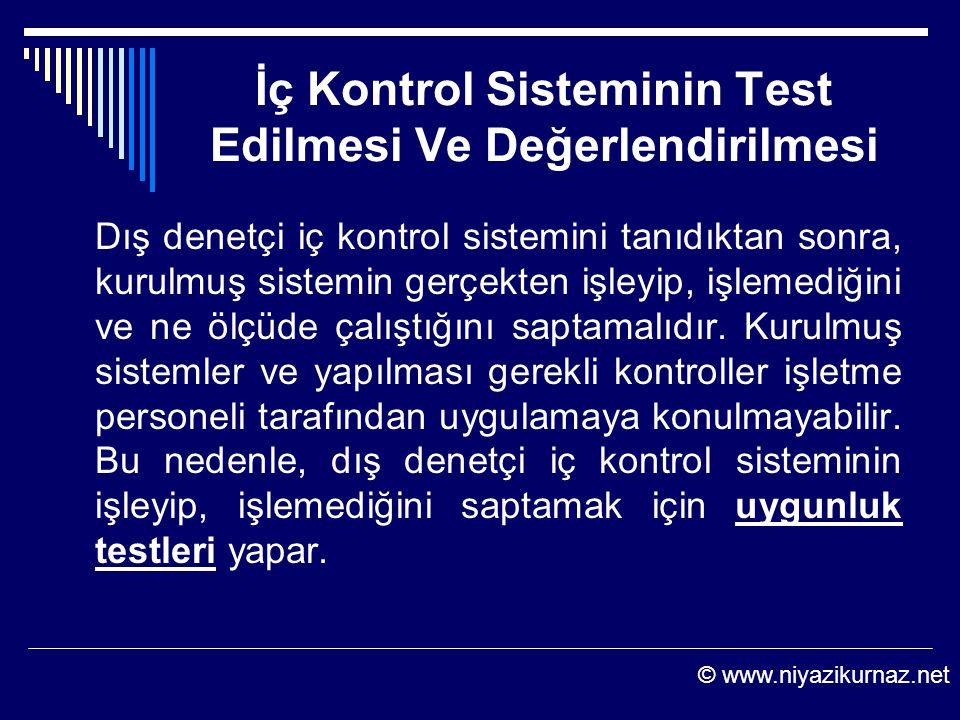 İç Kontrol Sisteminin Test Edilmesi Ve Değerlendirilmesi Dış denetçi iç kontrol sistemini tanıdıktan sonra, kurulmuş sistemin gerçekten işleyip, işlem