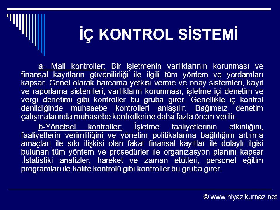 İÇ KONTROL SİSTEMİ a- Mali kontroller: Bir işletmenin varlıklarının korunması ve finansal kayıtların güvenilirliği ile ilgili tüm yöntem ve yordamları