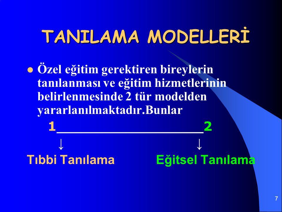 7 TANILAMA MODELLERİ Özel eğitim gerektiren bireylerin tanılanması ve eğitim hizmetlerinin belirlenmesinde 2 tür modelden yararlanılmaktadır.Bunlar 1