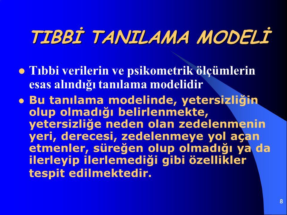8 TIBBİ TANILAMA MODELİ Tıbbi verilerin ve psikometrik ölçümlerin esas alındığı tanılama modelidir Bu tanılama modelinde, yetersizliğin olup olmadığı