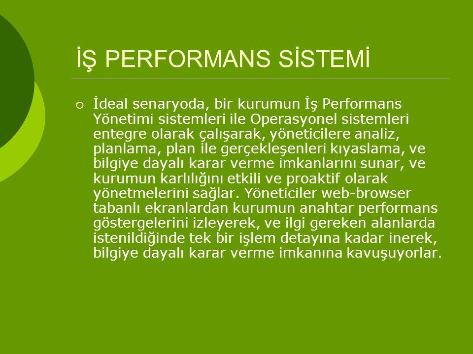 İŞ PERFORMANS SİSTEMİ  İdeal senaryoda, bir kurumun İş Performans Yönetimi sistemleri ile Operasyonel sistemleri entegre olarak çalışarak, yöneticile
