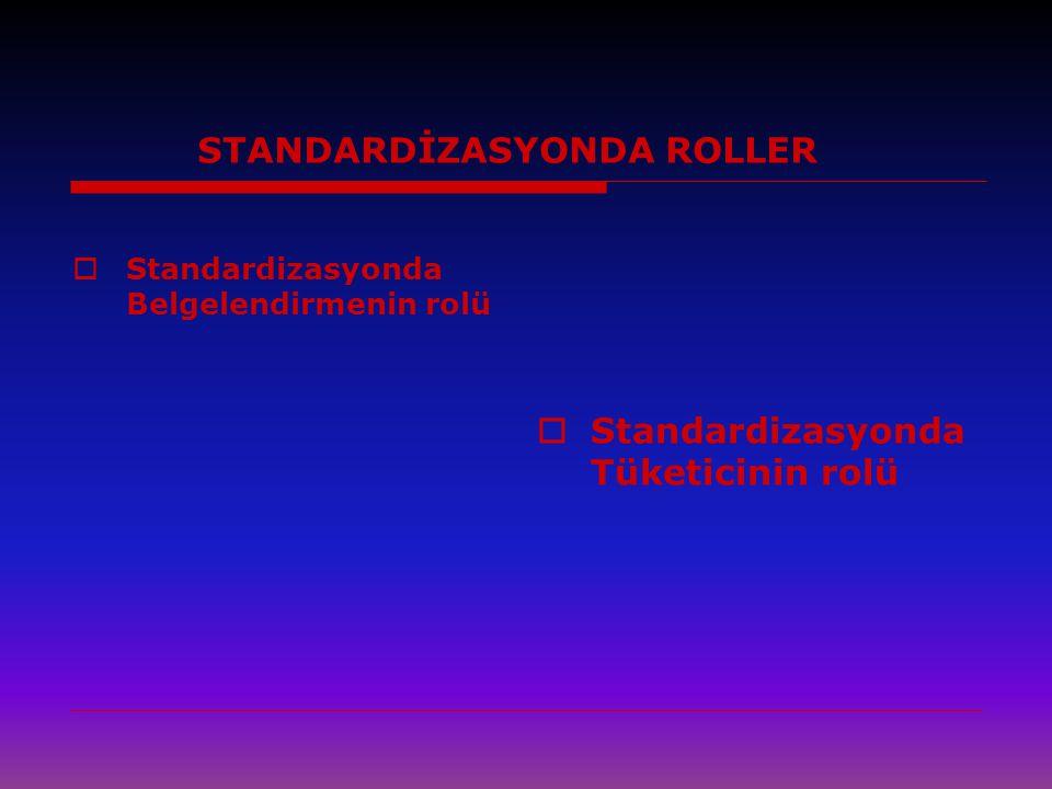 STANDARDİZASYONDA ROLLER  Standardizasyonda Belgelendirmenin rolü  Standardizasyonda Tüketicinin rolü