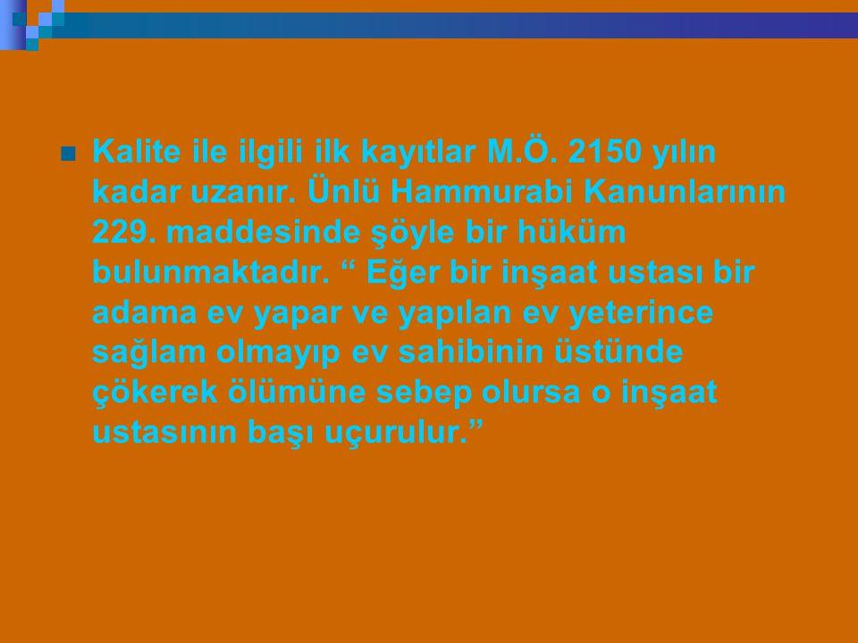 """Kalite ile ilgili ilk kayıtlar M.Ö. 2150 yılın kadar uzanır. Ünlü Hammurabi Kanunlarının 229. maddesinde şöyle bir hüküm bulunmaktadır. """" Eğer bir inş"""