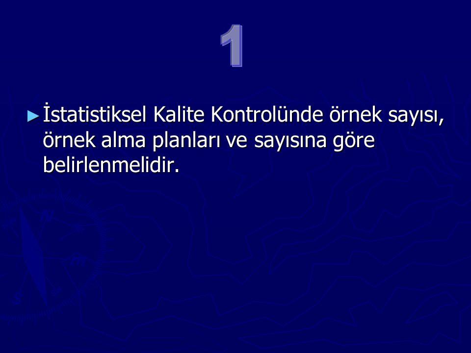 ► İstatistiksel Kalite Kontrolünde örnek sayısı, örnek alma planları ve sayısına göre belirlenmelidir.