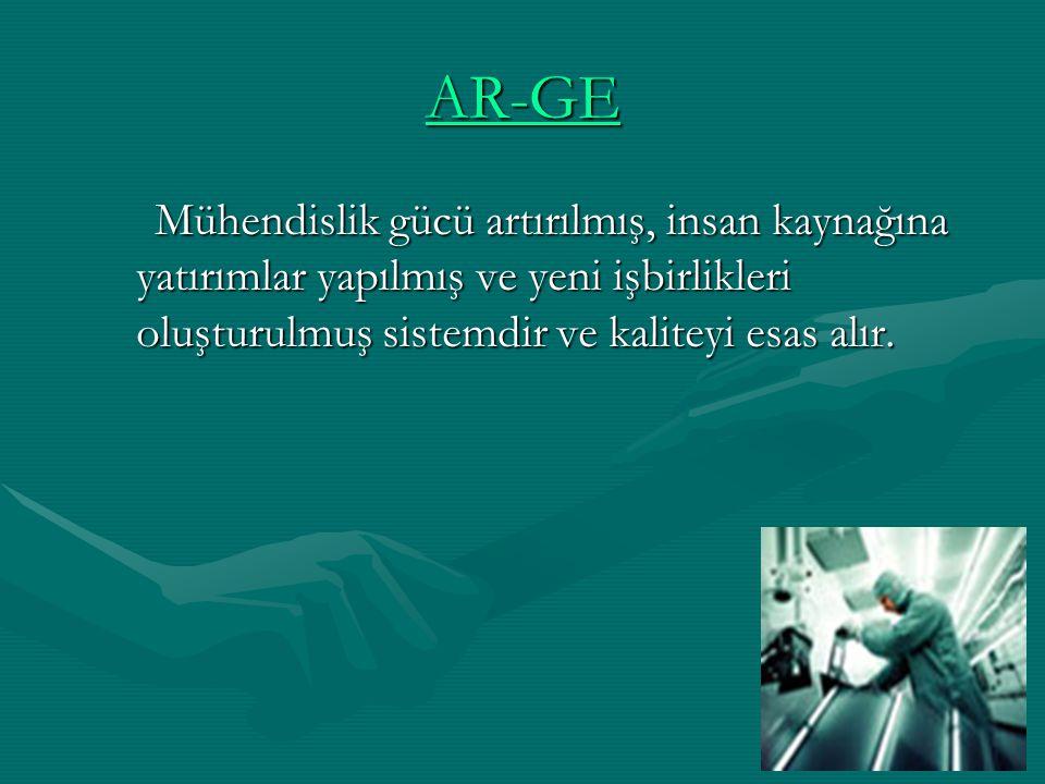 AR-GE Mühendislik gücü artırılmış, insan kaynağına yatırımlar yapılmış ve yeni işbirlikleri oluşturulmuş sistemdir ve kaliteyi esas alır. Mühendislik