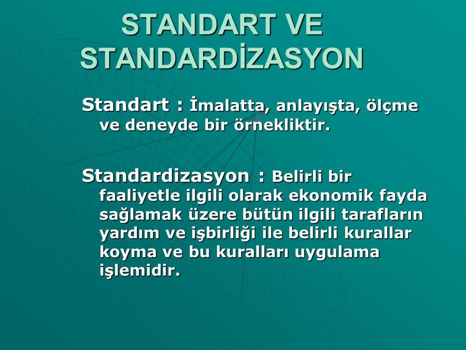 STANDART VE STANDARDİZASYON Standart : İmalatta, anlayışta, ölçme ve deneyde bir örnekliktir. Standardizasyon : Belirli bir faaliyetle ilgili olarak e