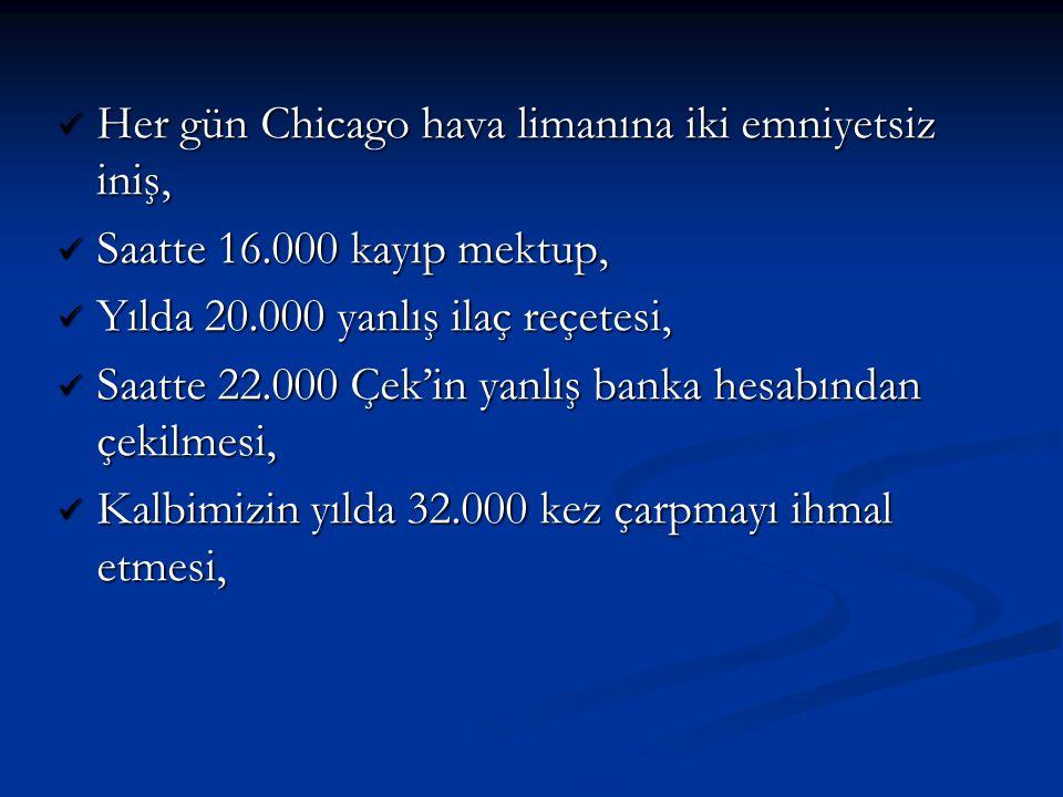 Her gün Chicago hava limanına iki emniyetsiz iniş, Her gün Chicago hava limanına iki emniyetsiz iniş, Saatte 16.000 kayıp mektup, Saatte 16.000 kayıp