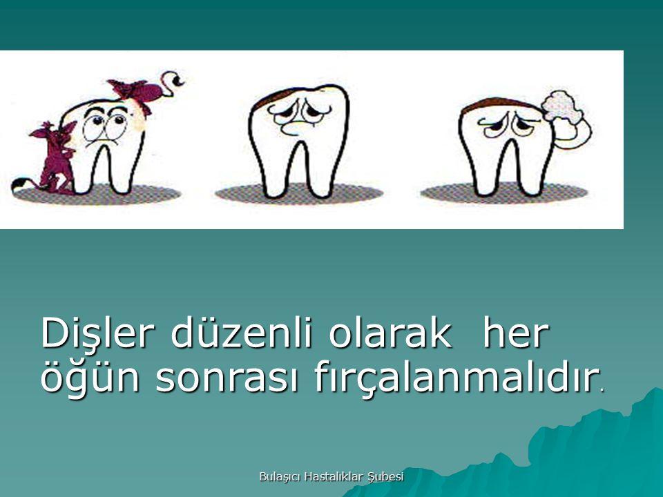 Bulaşıcı Hastalıklar Şubesi Dişler düzenli olarak her öğün sonrası fırçalanmalıdır.