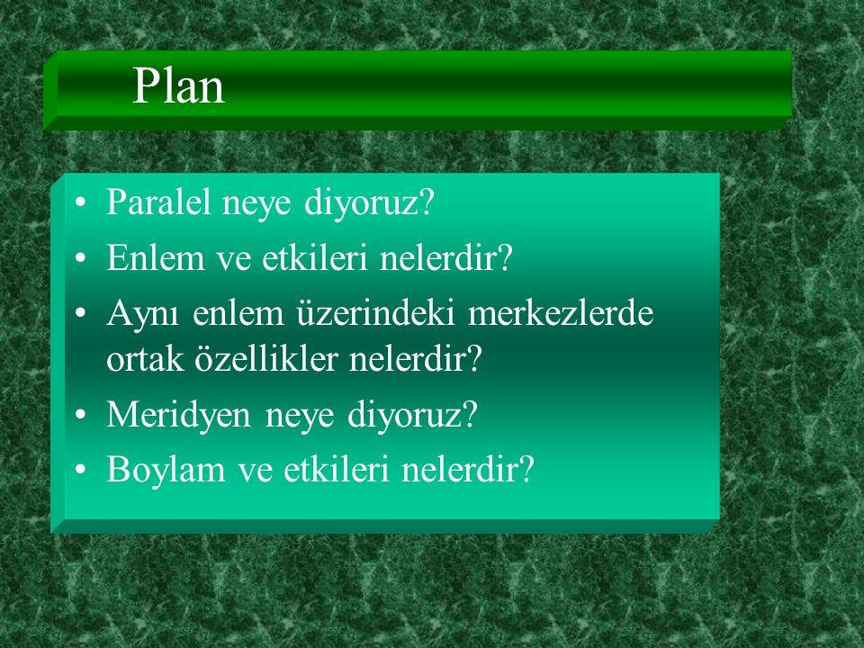 Plan Paralel neye diyoruz.Enlem ve etkileri nelerdir.