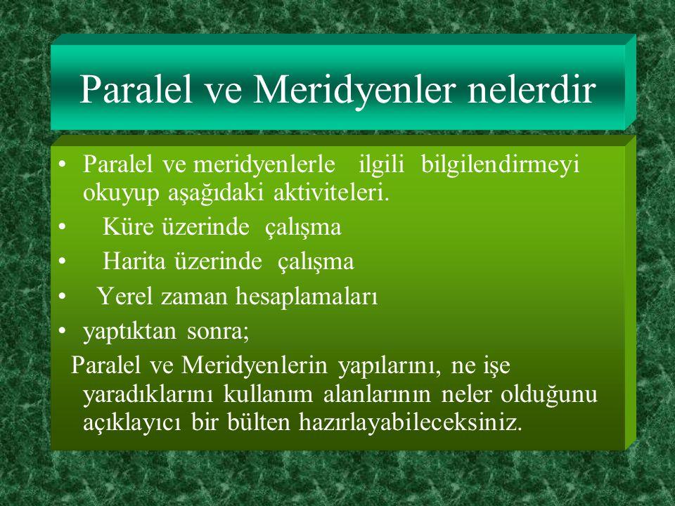 Paralel ve Meridyenler nelerdir Paralel ve meridyenlerle ilgili bilgilendirmeyi okuyup aşağıdaki aktiviteleri.