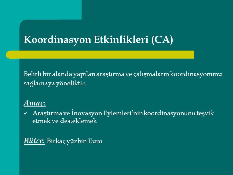 Koordinasyon Etkinlikleri (CA) Belirli bir alanda yapılan araştırma ve çalışmaların koordinasyonunu sağlamaya yöneliktir.