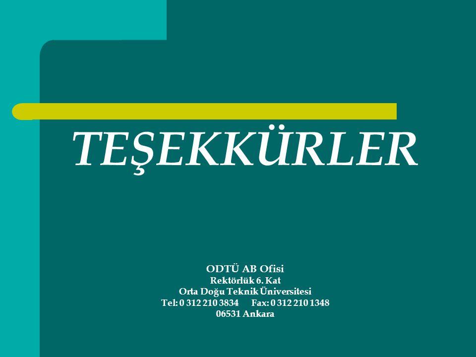 TEŞEKKÜRLER ODTÜ AB Ofisi Rektörlük 6.