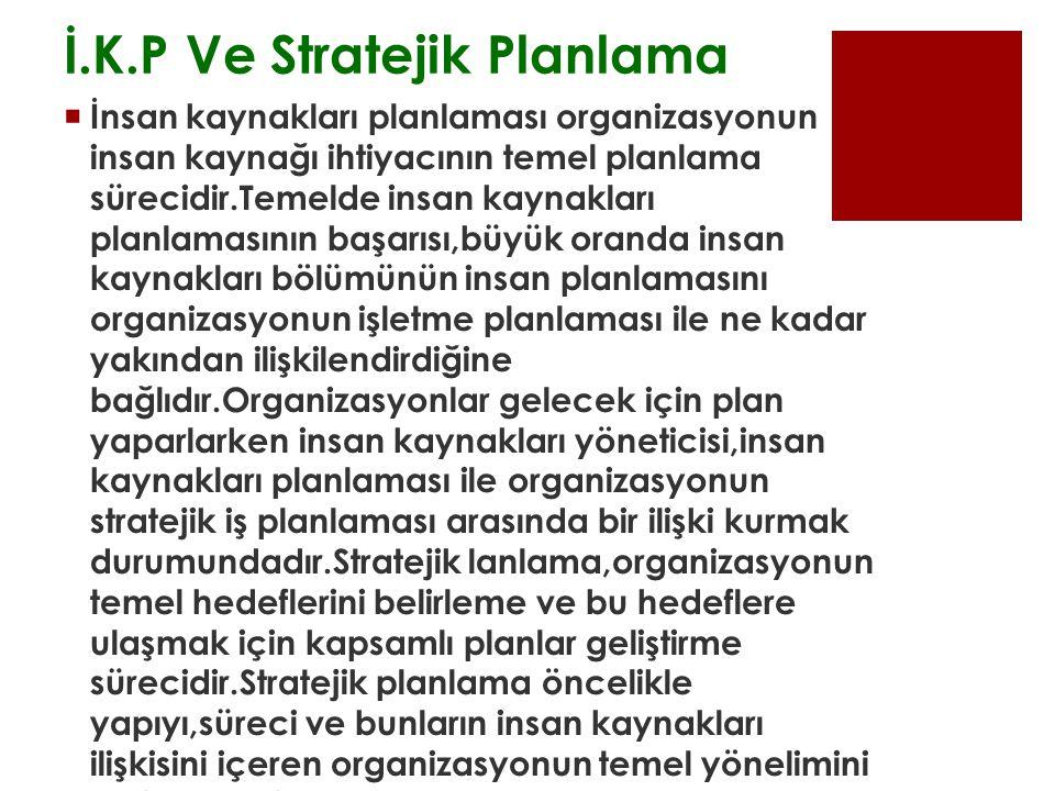 İ.K.P Ve Stratejik Planlama  İnsan kaynakları planlaması organizasyonun insan kaynağı ihtiyacının temel planlama sürecidir.Temelde insan kaynakları planlamasının başarısı,büyük oranda insan kaynakları bölümünün insan planlamasını organizasyonun işletme planlaması ile ne kadar yakından ilişkilendirdiğine bağlıdır.Organizasyonlar gelecek için plan yaparlarken insan kaynakları yöneticisi,insan kaynakları planlaması ile organizasyonun stratejik iş planlaması arasında bir ilişki kurmak durumundadır.Stratejik lanlama,organizasyonun temel hedeflerini belirleme ve bu hedeflere ulaşmak için kapsamlı planlar geliştirme sürecidir.Stratejik planlama öncelikle yapıyı,süreci ve bunların insan kaynakları ilişkisini içeren organizasyonun temel yönelimini belirlemektir.
