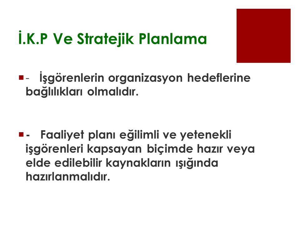 İ.K.P Ve Stratejik Planlama  - İşgörenlerin organizasyon hedeflerine bağlılıkları olmalıdır.  - Faaliyet planı eğilimli ve yetenekli işgörenleri kap