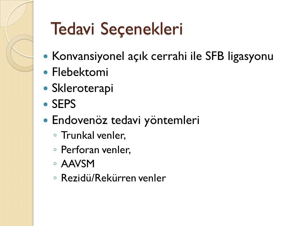 Tedavi Seçenekleri Konvansiyonel açık cerrahi ile SFB ligasyonu Flebektomi Skleroterapi SEPS Endovenöz tedavi yöntemleri ◦ Trunkal venler, ◦ Perforan