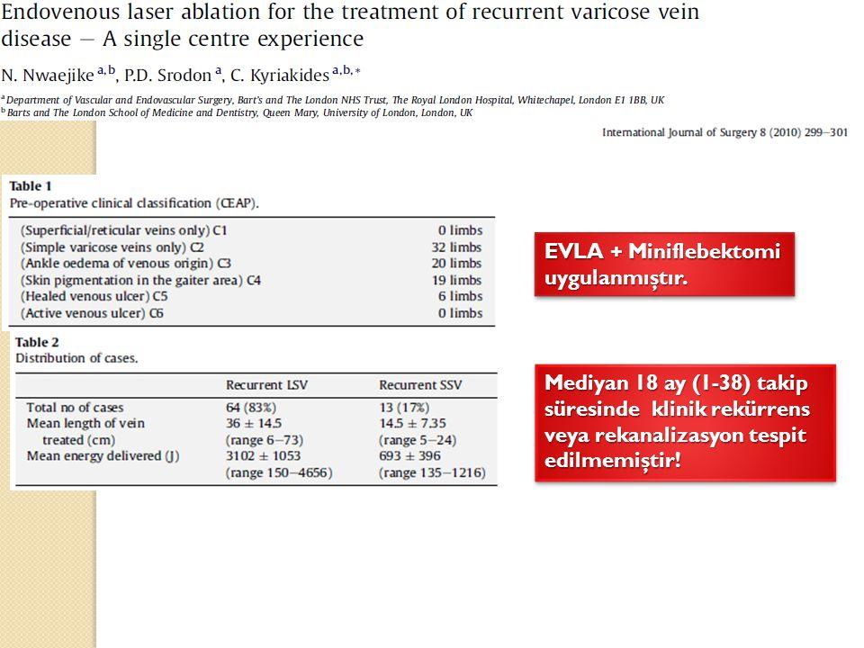 Mediyan 18 ay (1-38) takip süresinde klinik rekürrens veya rekanalizasyon tespit edilmemiştir! EVLA + Miniflebektomi uygulanmıştır.