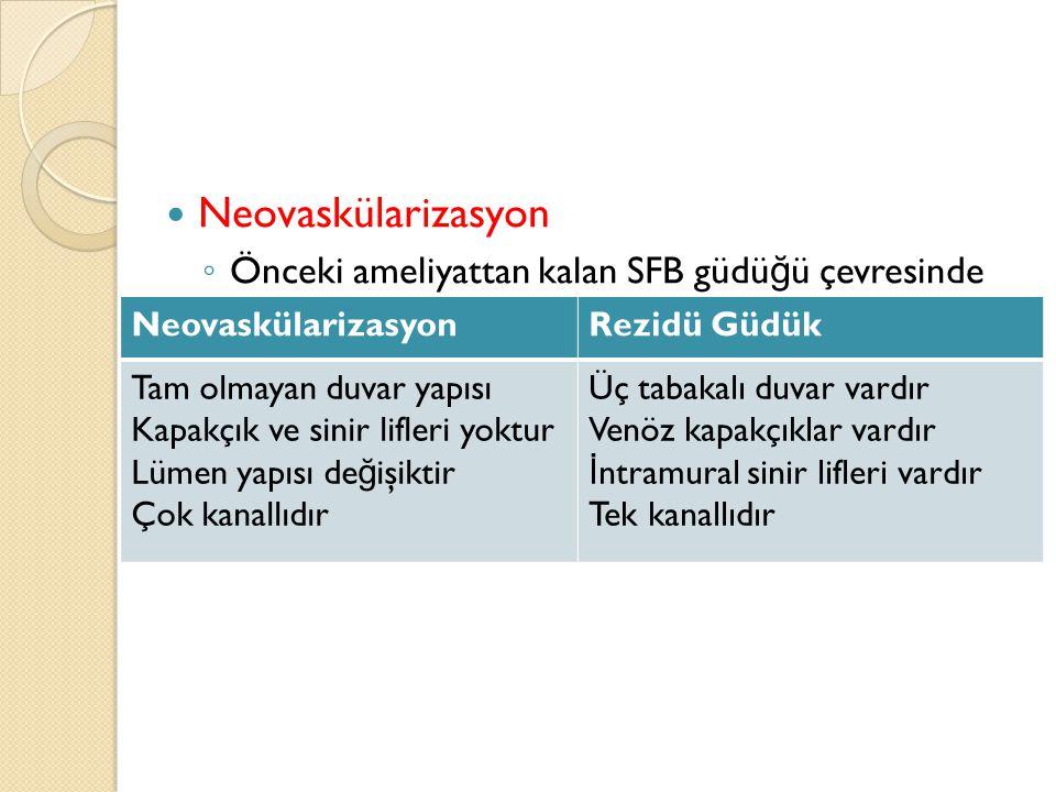 Neovaskülarizasyon ◦ Önceki ameliyattan kalan SFB güdü ğ ü çevresinde yeni damarların oluşumu olarak tanımlanmaktadır. ◦ Gerçekten yeni damar olabilec