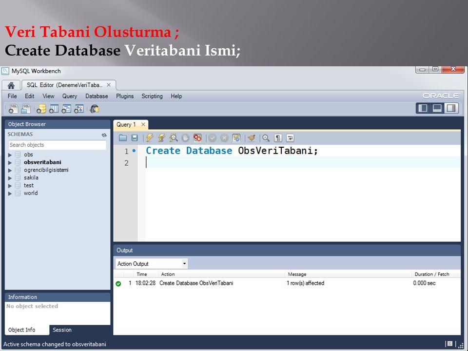 Veri Tabani Olusturma ; Create Database Veritabani Ismi;