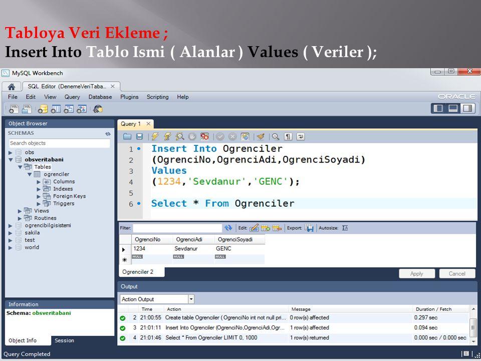 Tabloya Veri Ekleme ; Insert Into Tablo Ismi ( Alanlar ) Values ( Veriler );