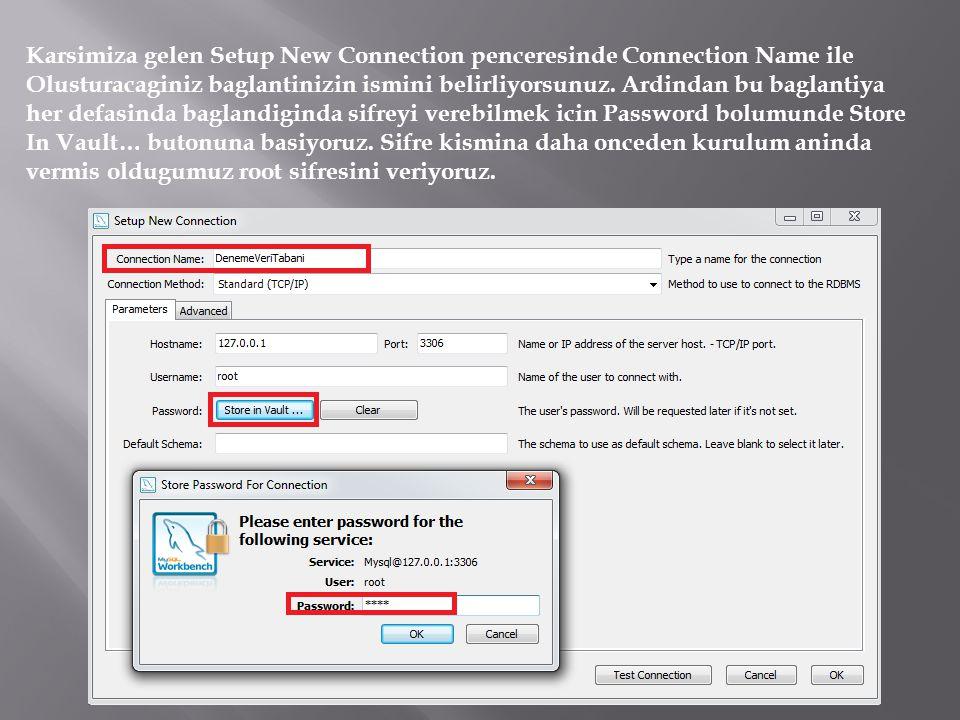 Karsimiza gelen Setup New Connection penceresinde Connection Name ile Olusturacaginiz baglantinizin ismini belirliyorsunuz.