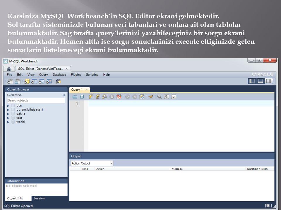 Karsiniza MySQL Workbeanch'in SQL Editor ekrani gelmektedir. Sol tarafta sisteminizde bulunan veri tabanlari ve onlara ait olan tablolar bulunmaktadir