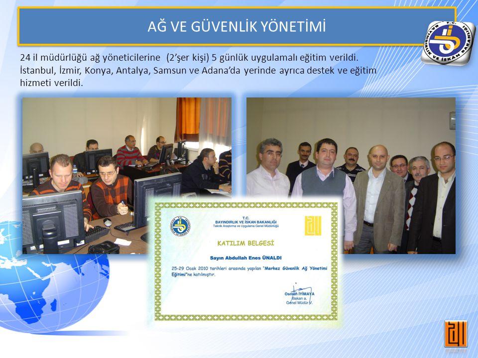AĞ VE GÜVENLİK YÖNETİMİ 24 il müdürlüğü ağ yöneticilerine (2'şer kişi) 5 günlük uygulamalı eğitim verildi. İstanbul, İzmir, Konya, Antalya, Samsun ve