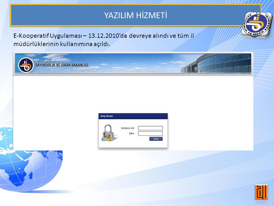 YAZILIM HİZMETİ E-Kooperatif Uygulaması – 13.12.2010'da devreye alındı ve tüm il müdürlüklerinin kullanımına açıldı.