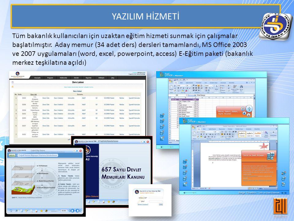 YAZILIM HİZMETİ Tüm bakanlık kullanıcıları için uzaktan eğitim hizmeti sunmak için çalışmalar başlatılmıştır.