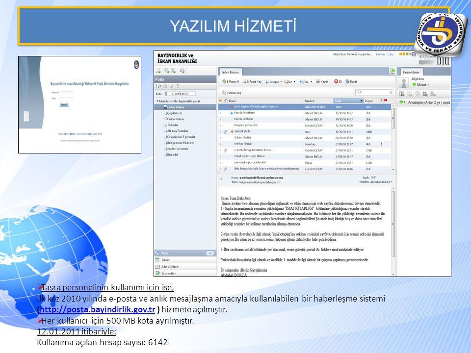 YAZILIM HİZMETİ  Taşra personelinin kullanımı için ise, İlk kez 2010 yılında e-posta ve anlık mesajlaşma amacıyla kullanılabilen bir haberleşme sistemi (http://posta.bayindirlik.gov.tr ) hizmete açılmıştır.http://posta.bayindirlik.gov.tr  Her kullanıcı için 500 MB kota ayrılmıştır.