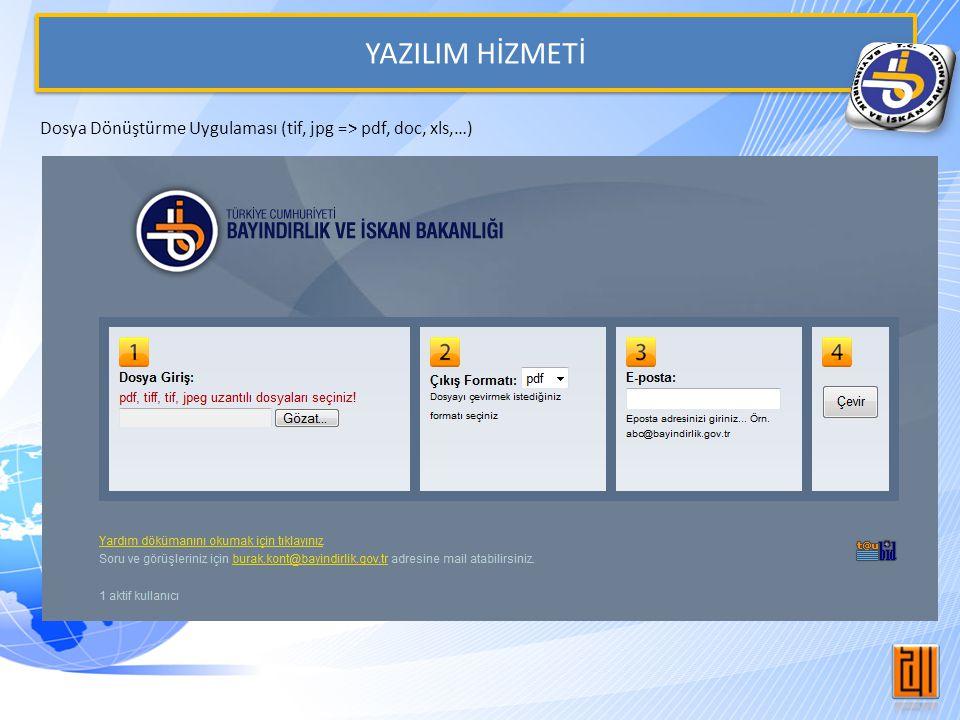 YAZILIM HİZMETİ Dosya Dönüştürme Uygulaması (tif, jpg => pdf, doc, xls,…)