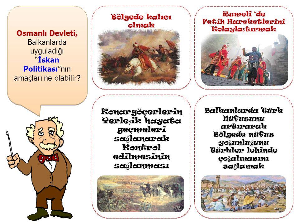 Osmanlı Devleti, Balkanlarda uyguladığı İskan Politikası nın amaçları ne olabilir.