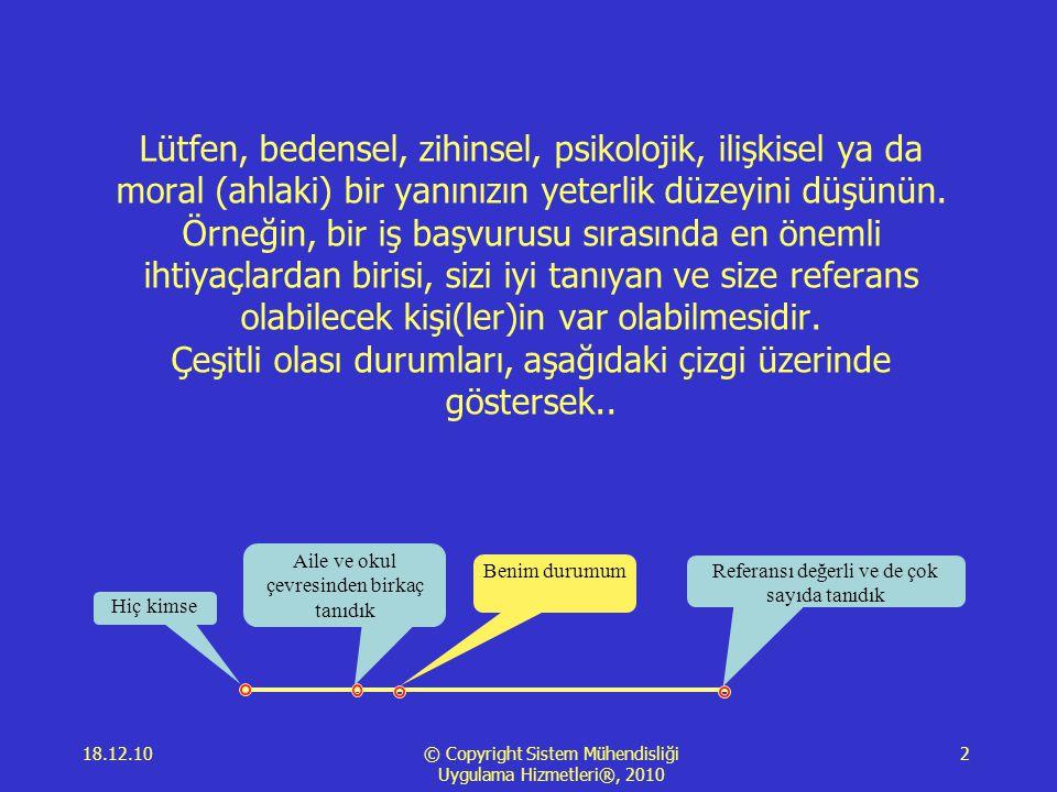 18.12.10 © Copyright Sistem Mühendisliği Uygulama Hizmetleri®, 2010 2 Lütfen, bedensel, zihinsel, psikolojik, ilişkisel ya da moral (ahlaki) bir yanınızın yeterlik düzeyini düşünün.