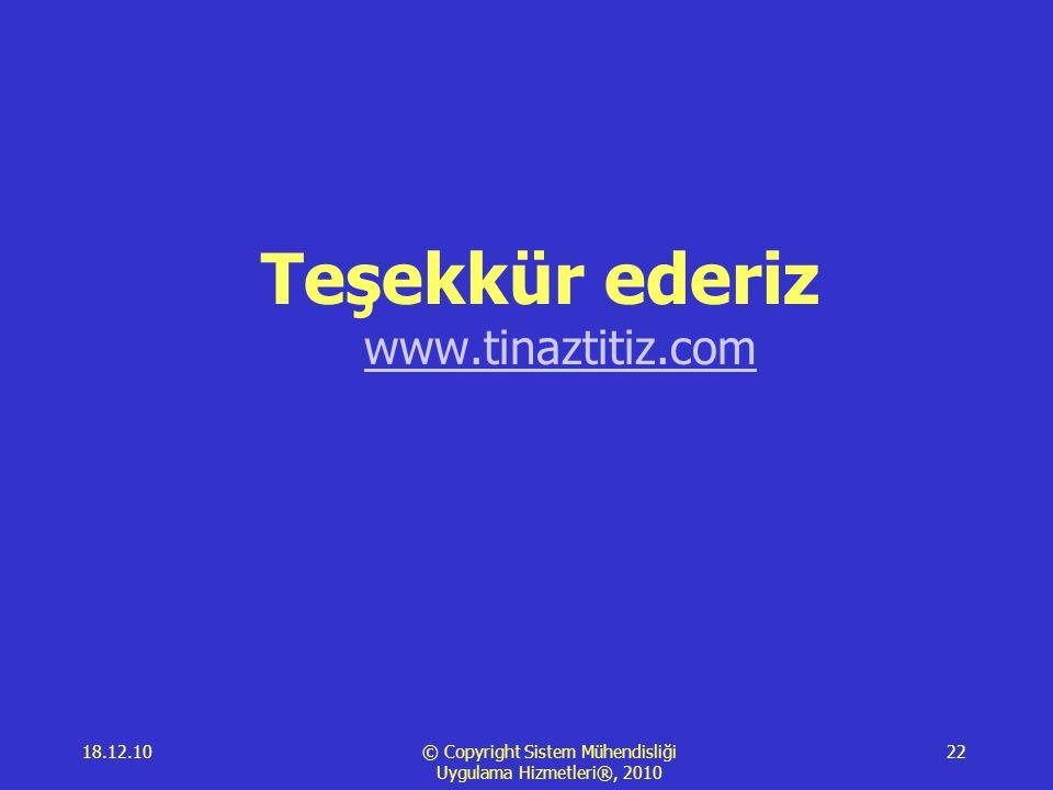 18.12.10 © Copyright Sistem Mühendisliği Uygulama Hizmetleri®, 2010 22 Teşekkür ederiz www.tinaztitiz.com www.tinaztitiz.com