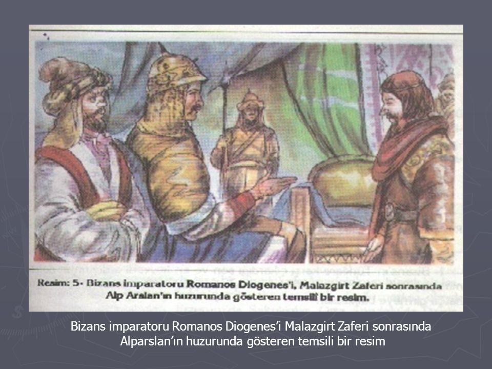 Bizans imparatoru Romanos Diogenes'i Malazgirt Zaferi sonrasında Alparslan'ın huzurunda gösteren temsili bir resim