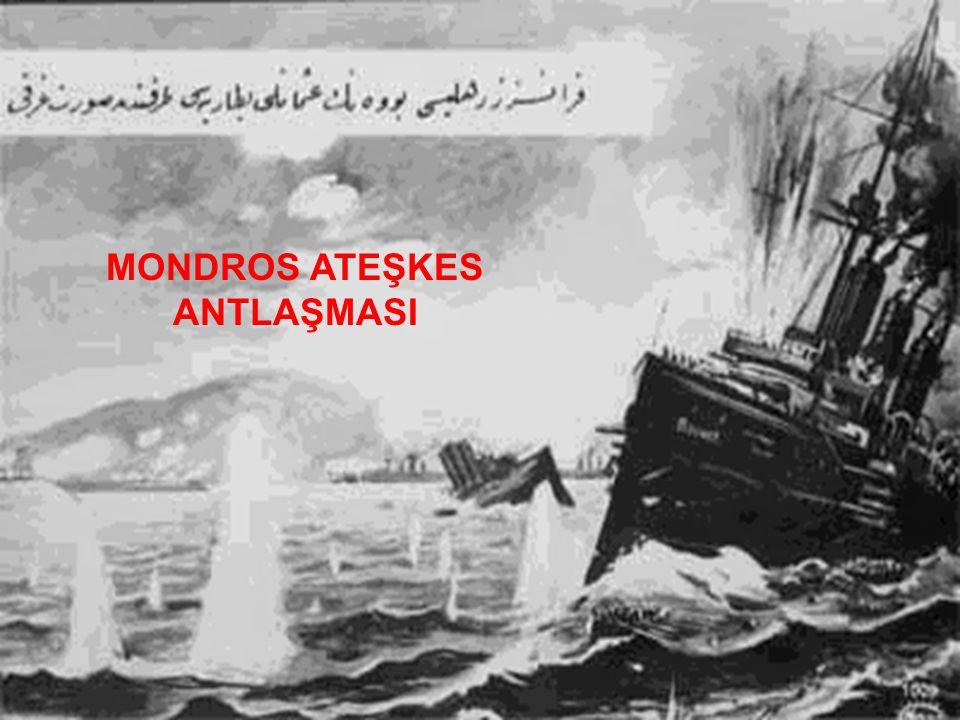 Antlaşma Mondros Limanı'na demirli Agamemnon zırhlısında 30 Ekim 1918'de imzalanmıştır.