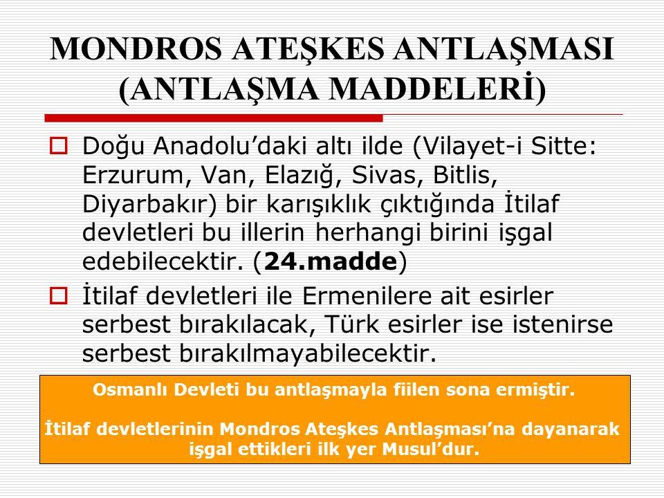 DDoğu Anadolu'daki altı ilde (Vilayet-i Sitte: Erzurum, Van, Elazığ, Sivas, Bitlis, Diyarbakır) bir karışıklık çıktığında İtilaf devletleri bu iller