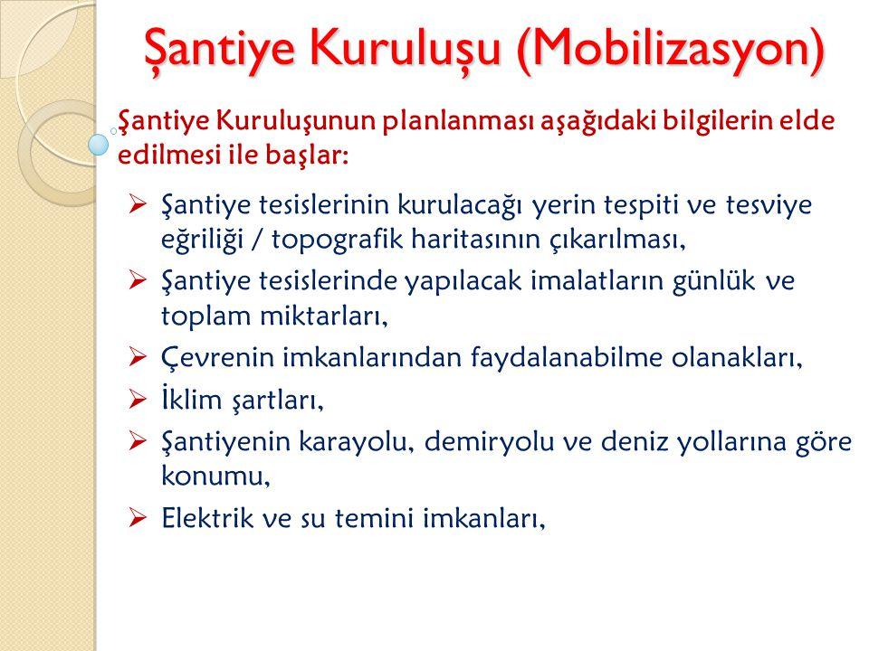 Şantiye Kuruluşu (Mobilizasyon) Şantiye Kuruluşunun planlanması aşağıdaki bilgilerin elde edilmesi ile başlar:  Şantiye tesislerinin kurulacağı yerin