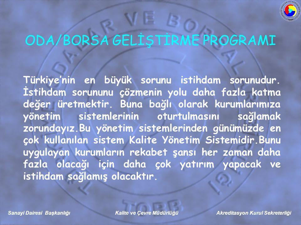 Sanayi Dairesi Başkanlığı Kalite ve Çevre Müdürlüğü Akreditasyon Kurul Sekreterliği Türkiye'nin en büyük sorunu istihdam sorunudur.