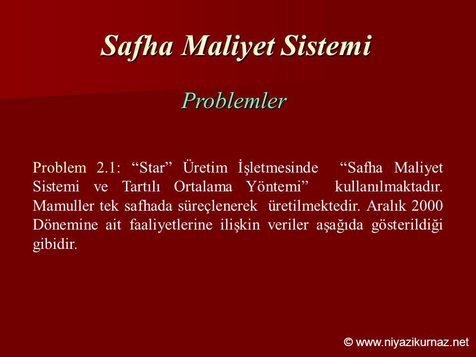 """Safha Maliyet Sistemi Problemler Problem 2.1: """"Star"""" Üretim İşletmesinde """"Safha Maliyet Sistemi ve Tartılı Ortalama Yöntemi"""" kullanılmaktadır. Mamulle"""
