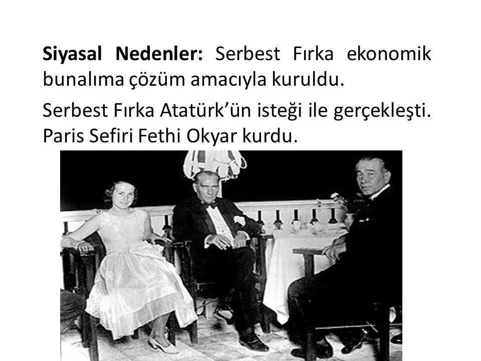 Siyasal Nedenler: Serbest Fırka ekonomik bunalıma çözüm amacıyla kuruldu. Serbest Fırka Atatürk'ün isteği ile gerçekleşti. Paris Sefiri Fethi Okyar ku