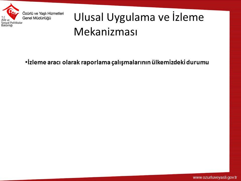 www.ozurluveyasli.gov.tr Ulusal Uygulama ve İzleme Mekanizması İzleme aracı olarak raporlama çalışmalarının ülkemizdeki durumu