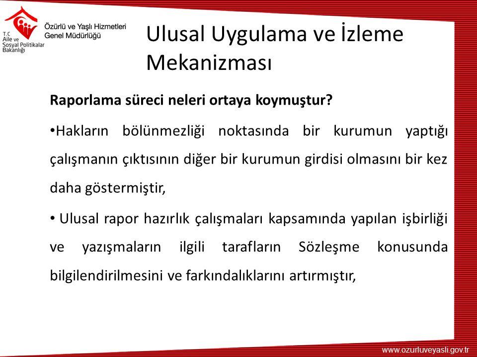 www.ozurluveyasli.gov.tr Ulusal Uygulama ve İzleme Mekanizması Raporlama süreci neleri ortaya koymuştur? Hakların bölünmezliği noktasında bir kurumun