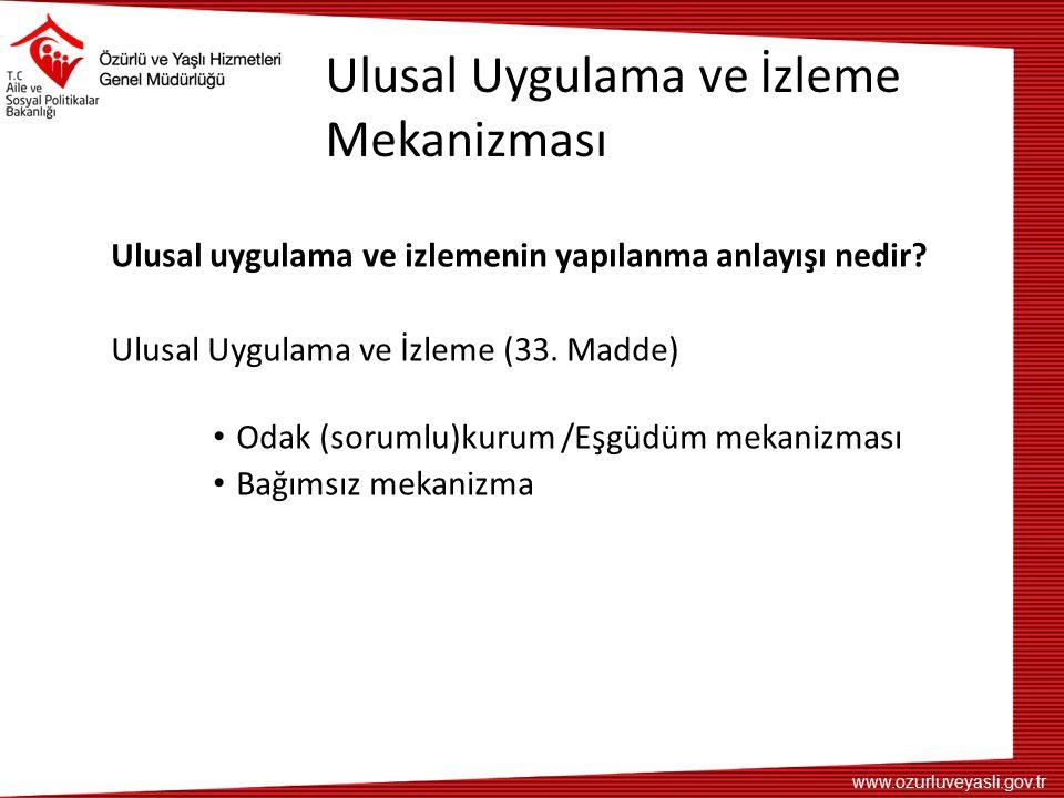 www.ozurluveyasli.gov.tr Ulusal Uygulama ve İzleme Mekanizması Ulusal uygulama ve izlemenin yapılanma anlayışı nedir? Ulusal Uygulama ve İzleme (33. M