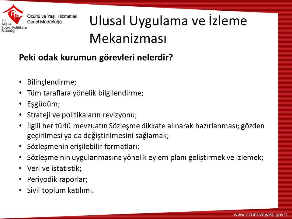 www.ozurluveyasli.gov.tr Ulusal Uygulama ve İzleme Mekanizması Peki odak kurumun görevleri nelerdir.