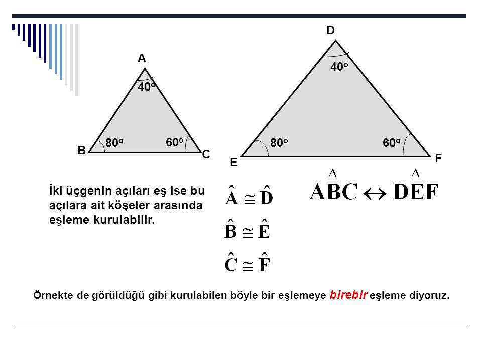 40 o 80 o 60 o 40 o 80 o 60 o D A B C E F İki üçgenin açıları eş ise bu açılara ait köşeler arasında eşleme kurulabilir. Örnekte de görüldüğü gibi kur