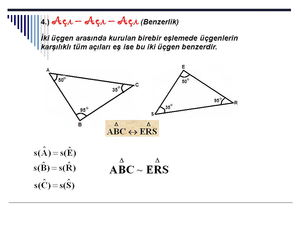 Örnekler: 1.) Yandaki şekilde [AB]//[DE] ise verilenlere göre x=?