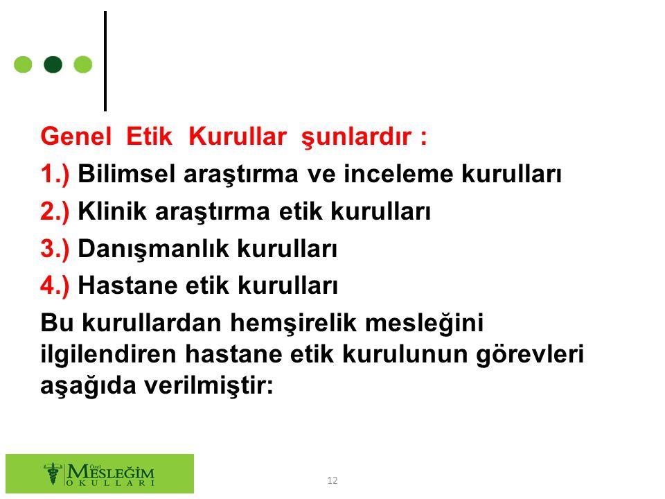Genel Etik Kurullar şunlardır : 1.) Bilimsel araştırma ve inceleme kurulları 2.) Klinik araştırma etik kurulları 3.) Danışmanlık kurulları 4.) Hastane